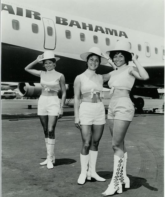 What a uniform! 1960s Air Bahama Stewardesses