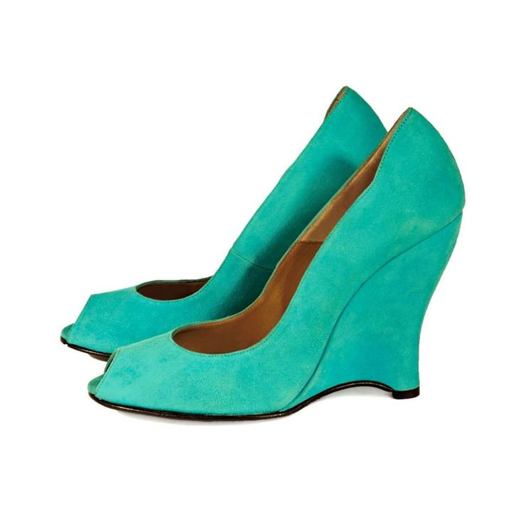 CLEO B 'Disco' soft suede peep toe wedge in turquoise #pixel #collection #turquoise #suede #wedges #heels #shoes #designer #fashion #london #style