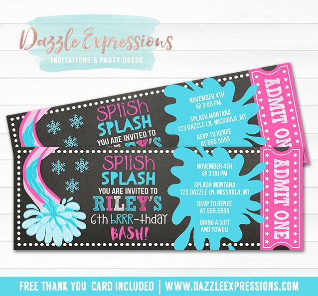 Printable Winter Pool Party Chalkboard Ticket Birthday Invitation | Girls Indoor Pool Party | Brr-thday | Splash Park | Water Slide | Water Park | Swimming Party | Cupcake Toppers | Favor Tags | Food Labels | Banner | Signs | Party Package Decor Available