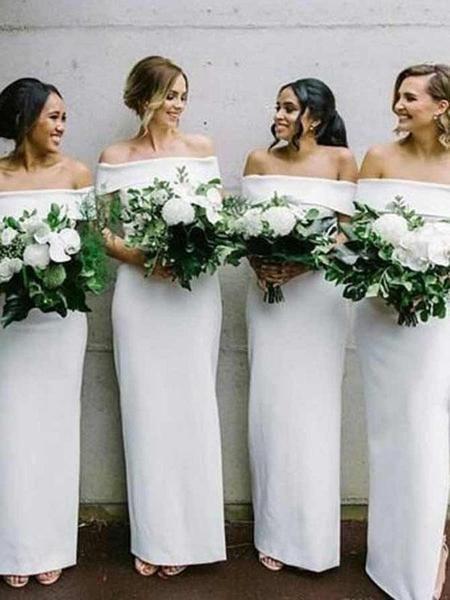 Elegant Sheath Off Shoulder Long White Bridesmaid Dresses Online, FPWG116
