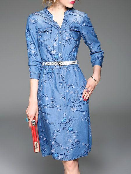 Shop Midi Dresses - Blue Casual Denim Midi Dress online. Discover unique designers fashion at StyleWe.com.