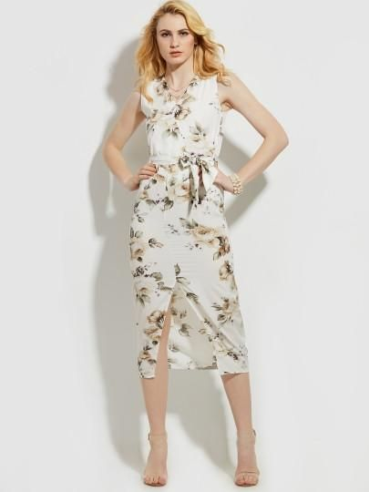 V-Neck Flower Print Vacation Sleeveless Women's Maxi Dress