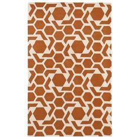 Kaleen Revolution Orange Rectangular Indoor Handcrafted Novelty Throw Rug (Common: 3 X 5; Actual: 3-Ft W X 5-Ft L) Rev05