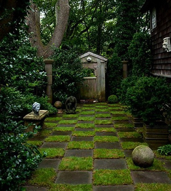 ไอเดียทางเดินในสวน: Secret Gardens, Idea, Secret Gardens, Side Yard, Gardens Paths, Chess Boards, Alice In Wonderland, Step Stones, Sideyard