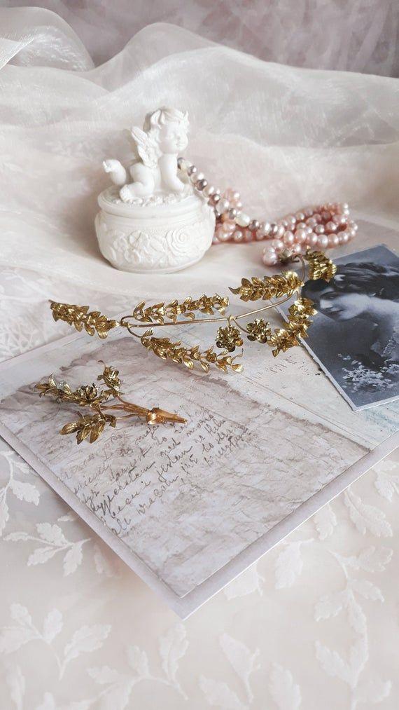 Golden Myrtle Tiara Vintage German Wedding Myrtle Crown Gold Hair Wreath Antique Golden Bridal Crown With Lapel Pin 1930s Tiara Hochzeitskrone Goldene Hochzeit Hochzeit Kronen