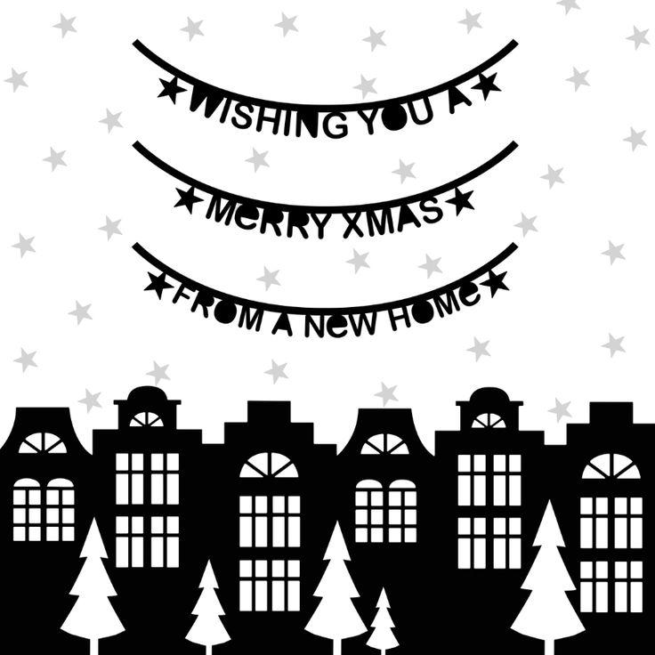 Kerstkaart verhuiskaart zwartwit 1