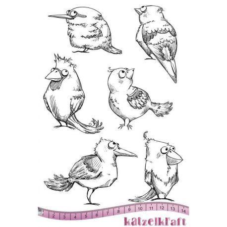 Katzelkarft: Vögel - A5-Stempelplatte (selbe Zeichnerin wie für die Crazy Birds bei Tim Holtz), 14,- €