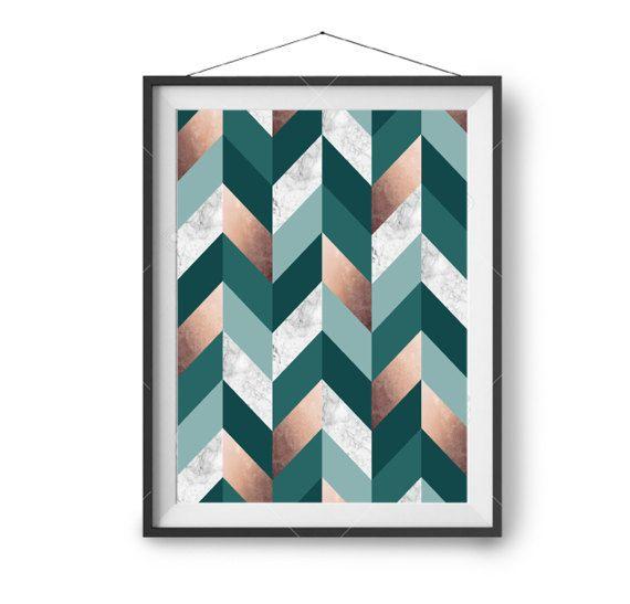 Teal Copper Printable Art Geometric Print Scandinavian Art
