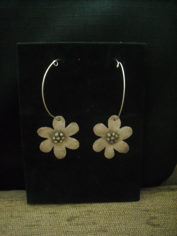 handmade flower earrings with silver 925