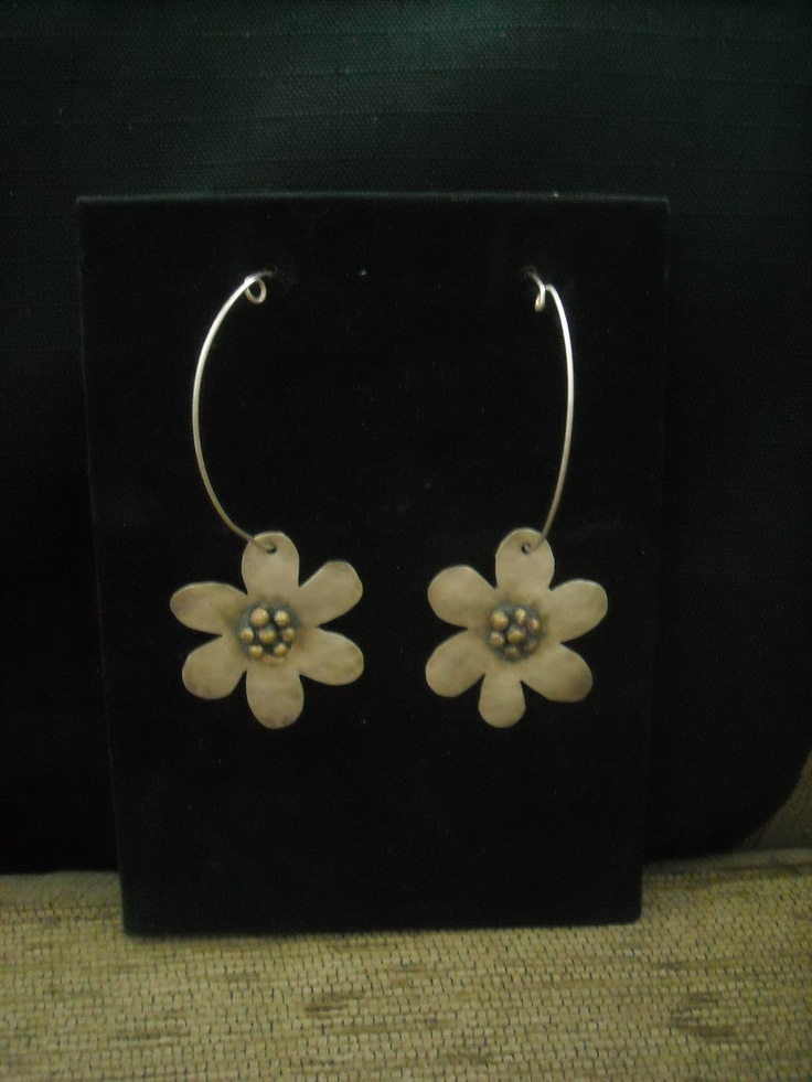 handmade flower earrings with silver 925