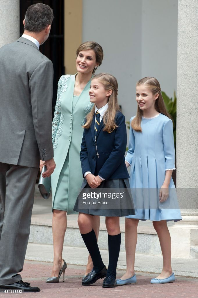 King Felipe of Spain, Queen Letizia of Spain, Princess Leonor and Princess Sofia (2R) attend the First Communion of Princess Sofia at the Asuncion de Nuestra Senora on May 17, 2017 in Madrid, Spain.