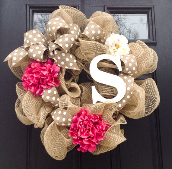Monogrammed Wreath-Spring Wreath- Summer Wreath-Burlap Wreath-Deco a Mesh Wreath- Hydrangea Wreath-Wreath-Housewares on Etsy, $70.00