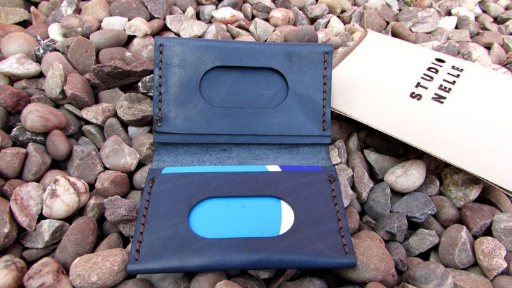 Navy Blue Leather Card Holder Wallet - Handstitched Mens Slim Wallet - Minimalist Wallet - Mens Leather Wallet - Reclaimed Leather by StudioNelle on Etsy