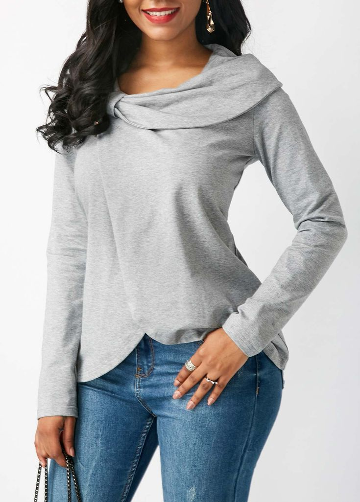 Long Sleeve Crossover Hem Grey Blouse on sale only US$31.58 now, buy cheap Long Sleeve Crossover Hem Grey Blouse at liligal.com
