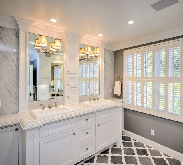 Crown molding around mirrors trim master bath like for White and gray bathroom ideas