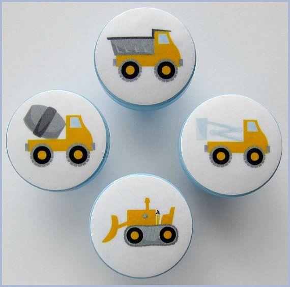 Dresser Knobs - Dresser Drawer Knobs - Drawer Pulls - Contruction Knobs - Dump Truck - Cement Truck