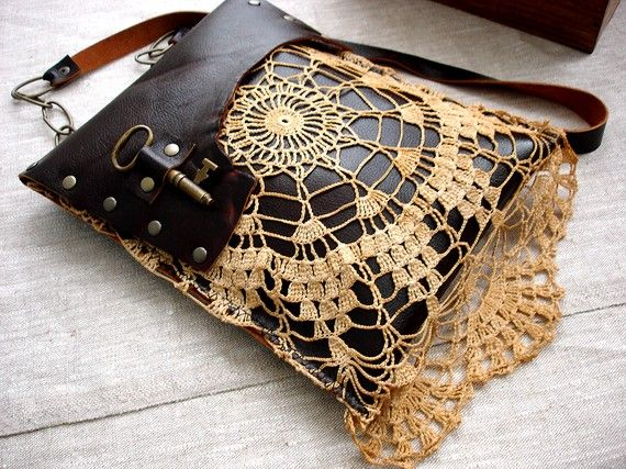Leather Festival Granny Bag with Vintage Lace and Antique Key