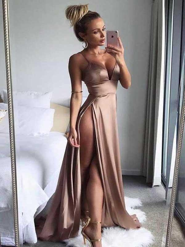 Alluring A-Line Side Slit Spaghetti Straps Long Prom Dresses,VPPD123