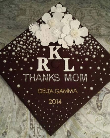 delta gamma flower graduation cap monogram thanks mom