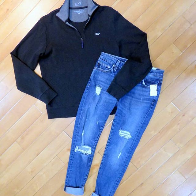 Preppy casual! Vineyard Vines navy sweatshirt size XS $22 and Lovers  Friends jeans size 2 $12 .  .  Shop with us thru Sunday March 11 and play Beach Party BINGO!  As you as you get BINGO you can save $25 off a purchase of $50!  .  .  Gotta have it? We do phone orders! Call: 610-455-1500 or  Shop: 1369 Wilmington Pike Hours: Mon- Sat: 10-8 Sun: 12-6  We ship and deliver free to our sister stores: Springfield & East Norriton. We Ship to Your Home!  #smallbiz #shopsmall