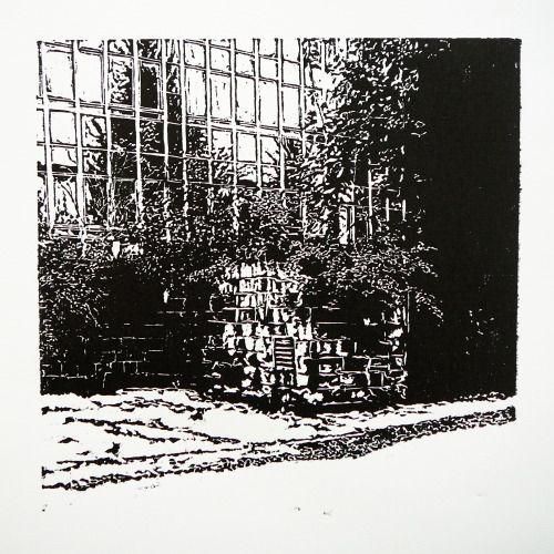Veľkomoravská 2866-9 OzTN I [printmaking, cutting into MDF] #printmaking #woodcut #bunker #art #shelters