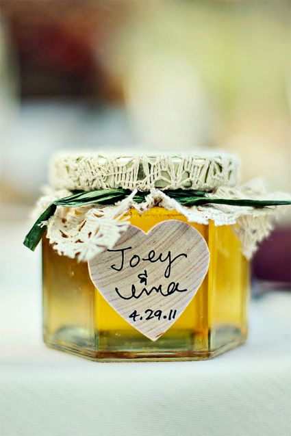 Darling Little Jar Of Honey With Sweet Details A Rustic Lacy Cover And Heart