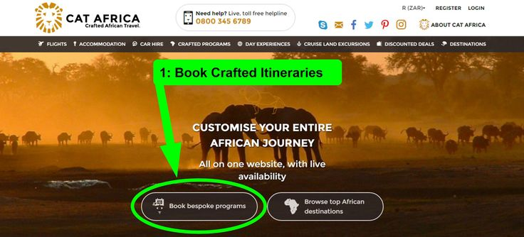 CAT-Africa's state-of-the-art technology allows you to customise your itinerary online instantly.  Discover how easy it is to book your bespoke Southern African Journey