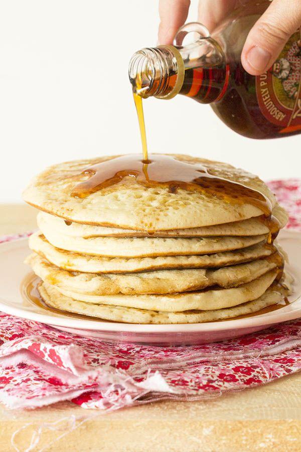 Pancakes con sirope o jarabe de arce. Receta Norteamericana con Thermomix