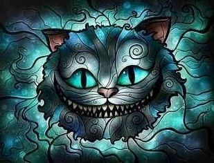 Alice in Wonderland's Cheshire Cat stained glass art via www.Facebook.com/DisneylandForMisfits