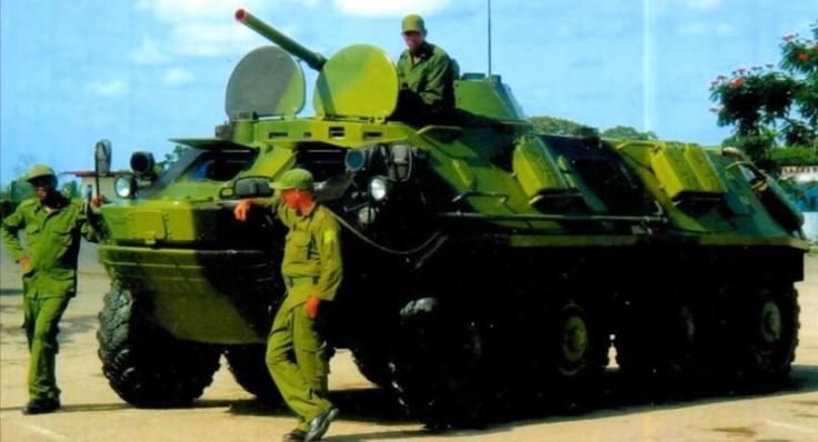 Cuban BTR-60 fitted with the turret from a BMP-1, the turret was leftover from Cuban BMP conversions.