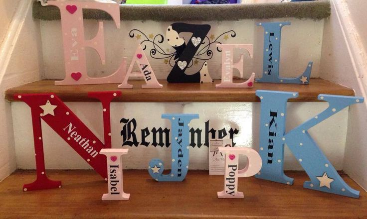 Beautiful freestanding letters available in a range of sizes and colours.With or without a name added to each. Add a note to the personalise box with your requirements.