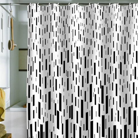 Black White And Gray Shower Curtain