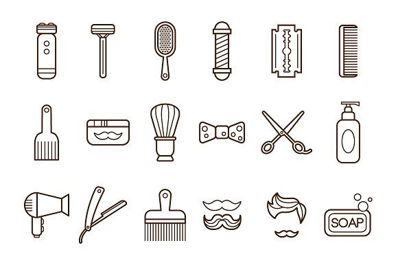 Barber Shop or Hairdresser icons by TopVectors on @creativemarket