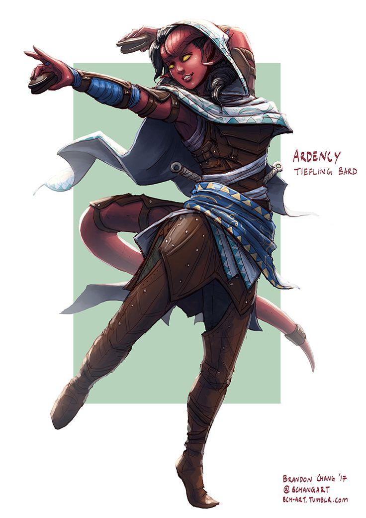 Tiefling Female Bard Rogue Fighter D&D RPG Pathfinder D20