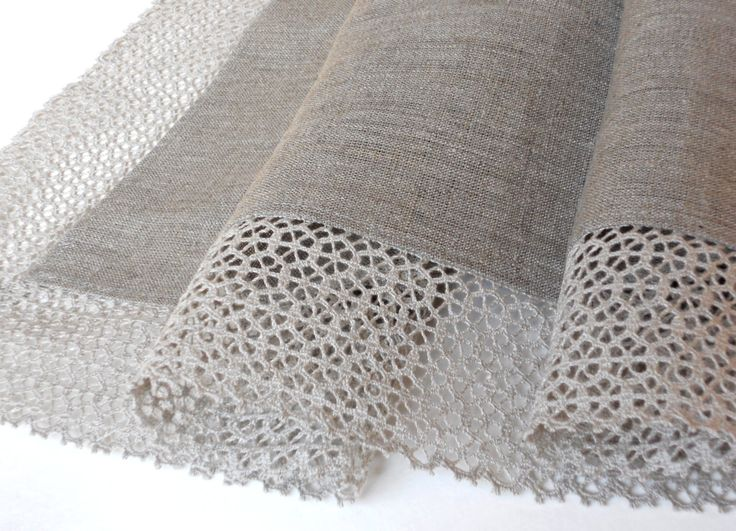 Natural gray linen tablecloth with wide linen lace - the best choice if you love natural, ekologic, classic and elegant design! Great wedding gift!  Size 64 x 84 (162 x 212cm). Please convo if you need other size, matched napkins or runner! Materials - * medium weight 100% natural linen fabric, unbleached, undyed * beautiful 3.5 (8cm) wide linen lace, made in Latvia.  Delicate machine wash, do not tumble dry, do not bleach, damp ironing or use without ironing. Shrinkage approx. 5% after…