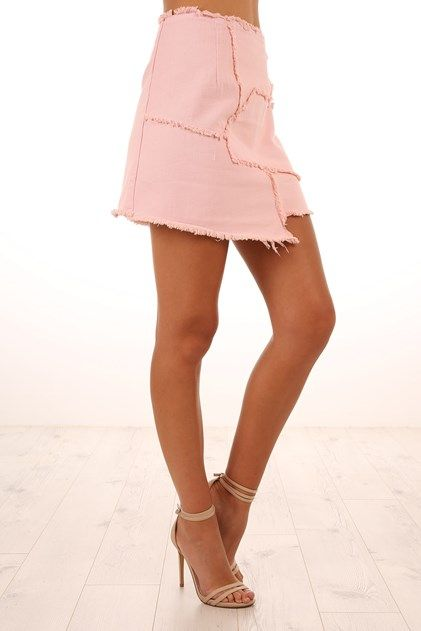 Patch Work Skirt Pink