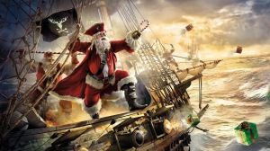 Preview wallpaper santa claus, pirate, ship, gifts, sea, storm 1920x1080