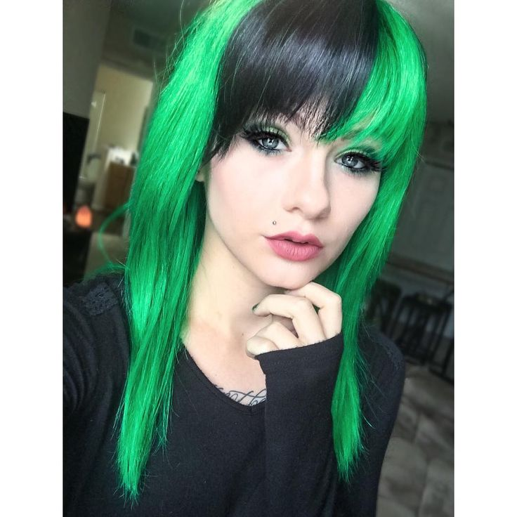 Best Black And Green Hair Ideas On Pinterest Green Hair - Green trends change of hairstyle