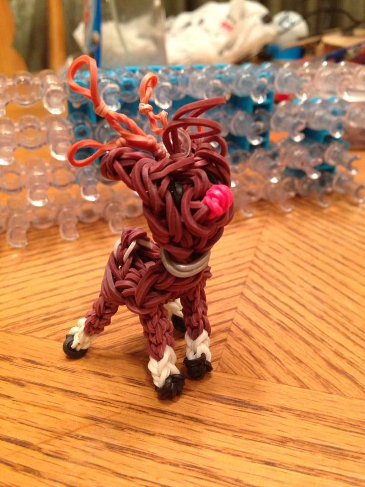 Donna Lorber. Rainbow Loom FB page. RUDOLPH The Red-Nosed Reindeer.