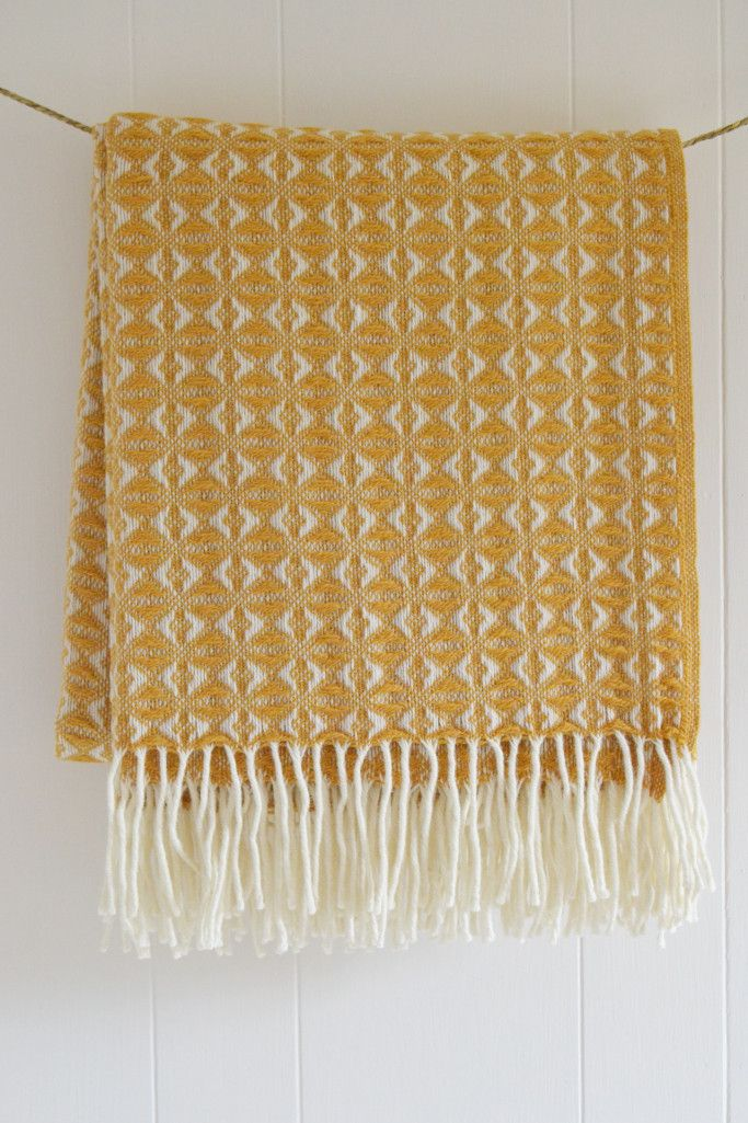 Snuggle Up Under This Mustard Yellow Wool Blanket Woven