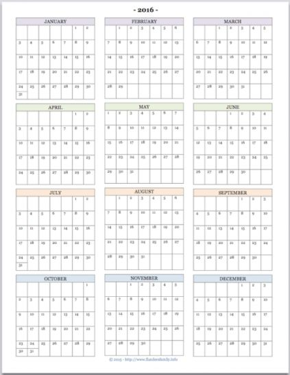"Free printable ""Year at a Glance"" calendar for 2016. You'll also find tons of other great printables at www.flandersfamily.info."