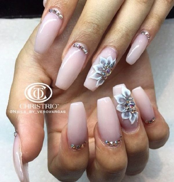 Neutral Studded Coffin Nails. If you love top embellish your nails with studs, beads and other amazing patterns, this neutral shaded nail art design is something that you need to try.