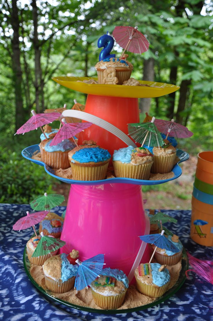 Beach themed cupcakes for my daughter's 2nd Beach Bum Birthday party. Found idea on pinterest, and then made my own variation for the cupcake display stand.