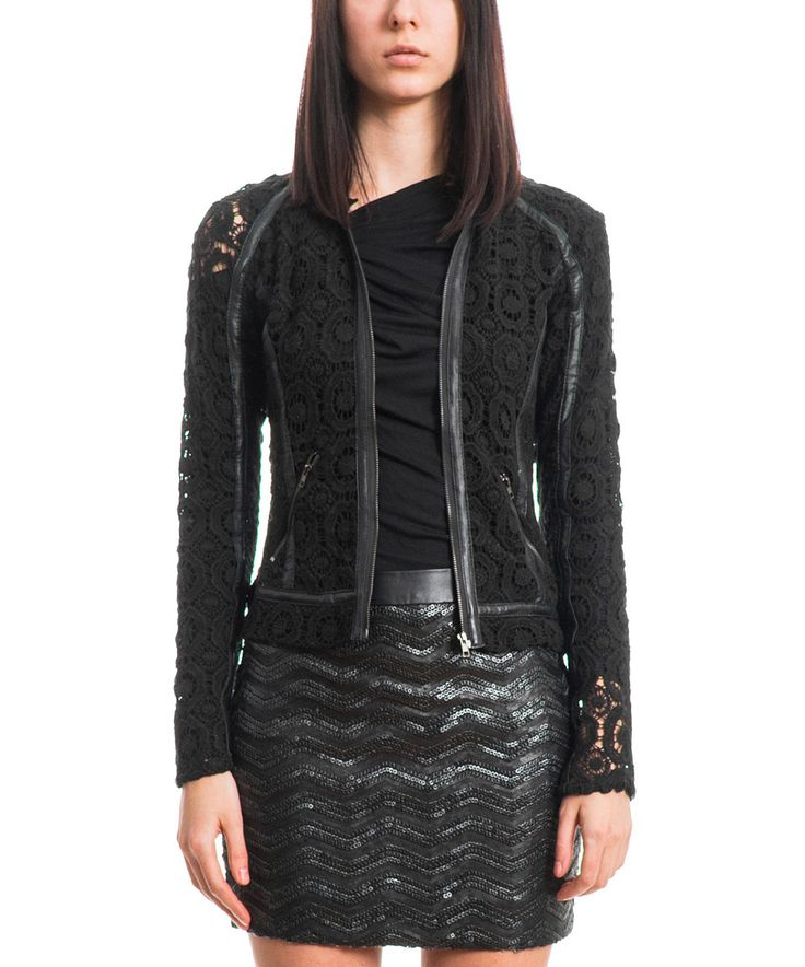 Another great find on #zulily! Black Crochet Zip-Up Jacket by Slate 61 #zulilyfinds