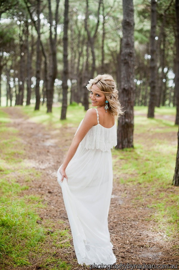 Floaty casual beach wedding dress silk & French lace Ivory bohemian vintage wedding dress. $900.00, via Etsy.