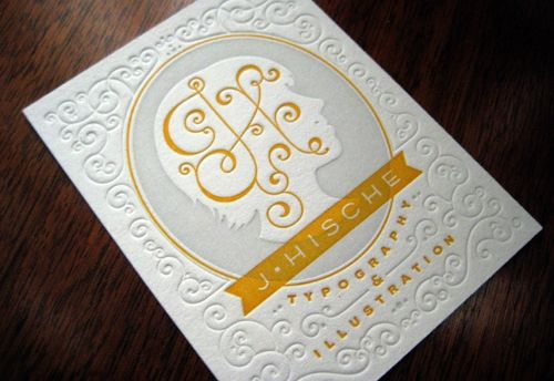 Jessica Hische typography and illustration letterpress business card: Graphic Design, Card Designs, Inspiration, Business Card Design, Jessica Hische, Businesscards, Hische Business, Letterpress Business Cards