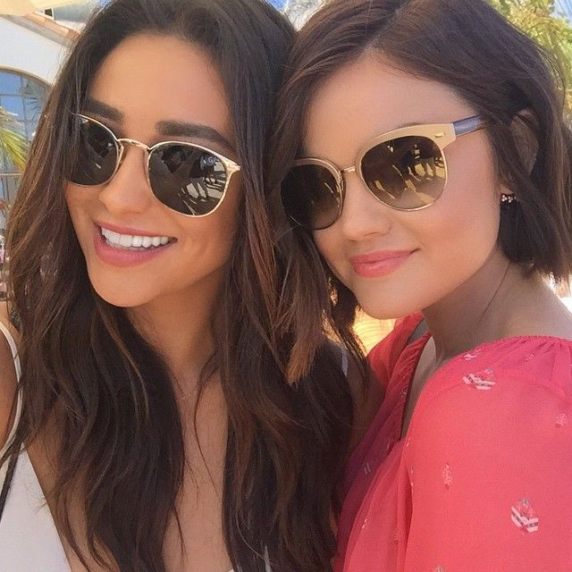 Shay and Lucy look gorgeous in their natural makeup and stylish shades! | Pretty Little Liars Fashion