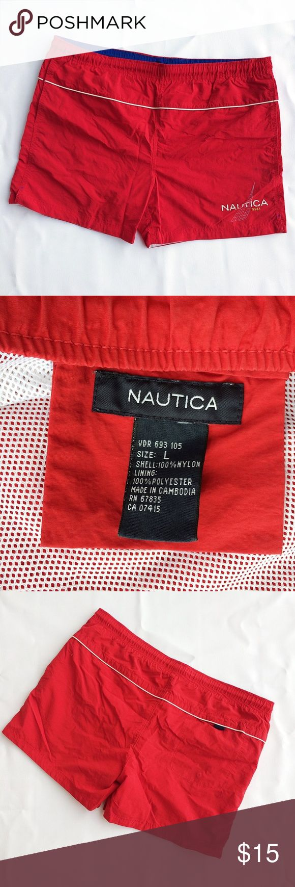 Red Nautica Mesh Swim Trunks Shorts Mens Large Red Spellout Nautica trunks. Mesh and drawstring intact. Men's size Large. Excellent condition. Slight print fading Nautica Swim Swim Trunks