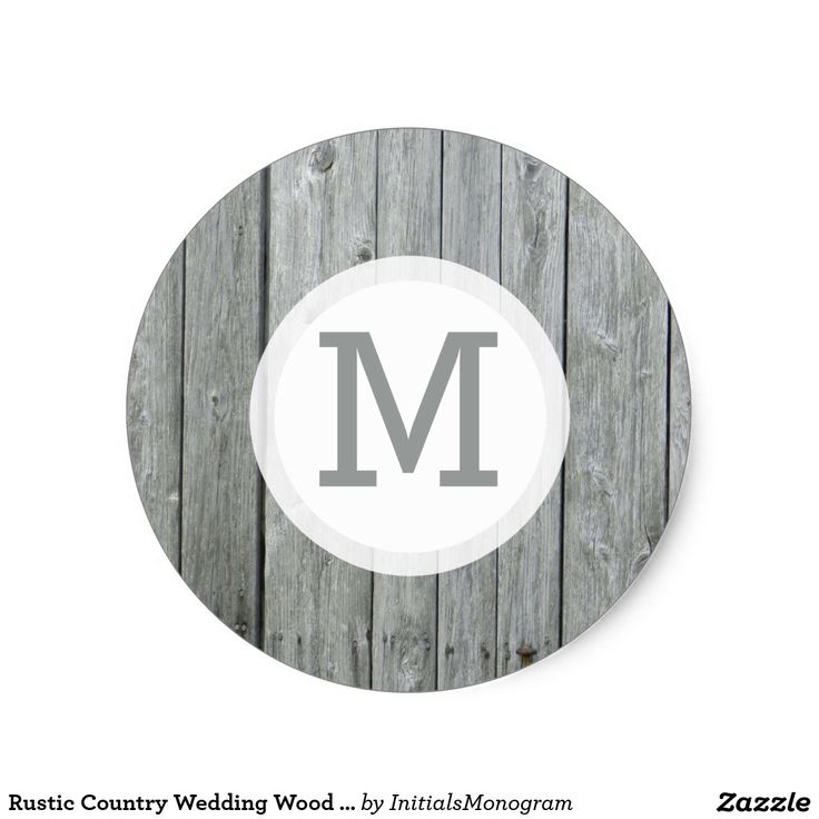 Rustic country wedding wood monogram classic round sticker