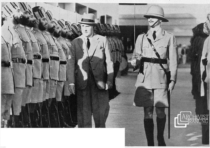 RaRe & Classic –Sikh Contingent of Police at Singapore – 1935    Description:  Sir Shenton Thomas who was recently succeeded Sir Cecil Clementi as Governor and Commander in Chief of the Straits Settlements, Inspecting a guard of honour of the Sikh Contingent of Police before opening their new barracks at Pearl's Hill, Singapore.    References:  02nd Feb 1935 – The Sphere - BNA.